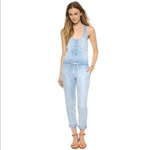 Cloth and Stone Button Up Chambray Jean Jumpsuit